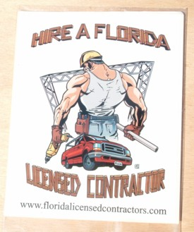 6-Pack Hire a FL Lic Contractor Square Stickers - (6) 4