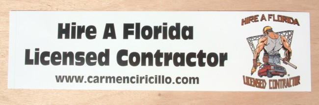 Hire a Florida Licensed Contractor Bumpersticker - 11.5