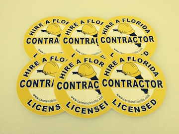 6-Pack Hire FL Contractor Stickers - Mini - 4 inch Round Hire a Florida Licensed Contractor Mini Stickers